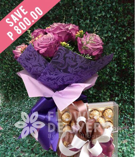 1 Dozen Lavender Roses with 24 pcs. Ferrero