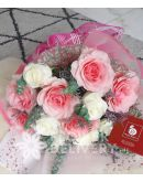 1 Dozen Pink and White Ecuadorian Roses
