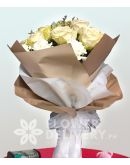 1 Dozen Imported  White Roses and White Carnation