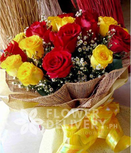 1 Dozen Yellow and 1 Dozen Red Ecuadorian Roses
