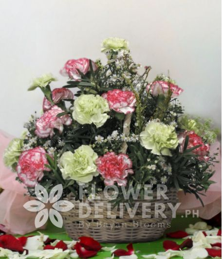 A Basket of Mixed Carnations