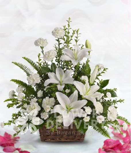 A Basket of White Lilies and Carnations