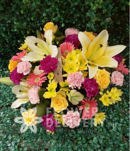 Mix Flowers in a Basket