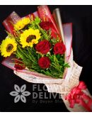 3 Sunflowers and 5 Red Ecuadorian Roses