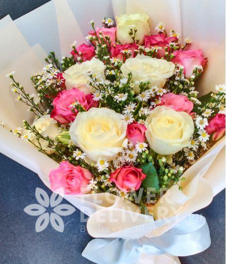 1 Dozen Pink and 6 White Roses