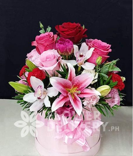 Special Box of Pink and Red Flowers