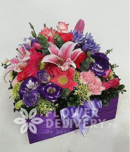 Special Box of Purple and Red Flowers