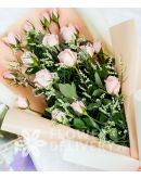 Elegant Light Pink Roses in a Bouquet