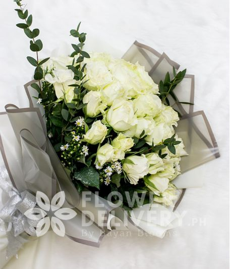 Elegant Whites Roses with Eucalyptus