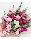 Pretty Pink and White Carnations with Roses