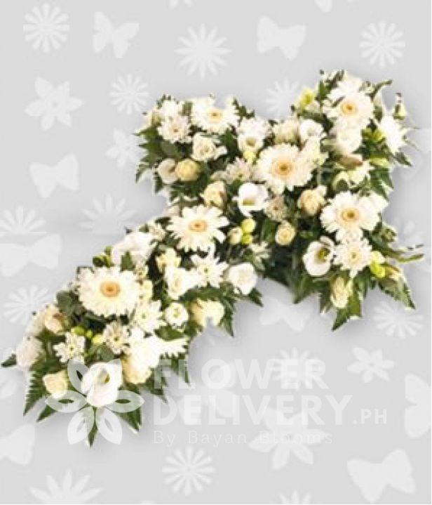 Casket Cross White Flowers