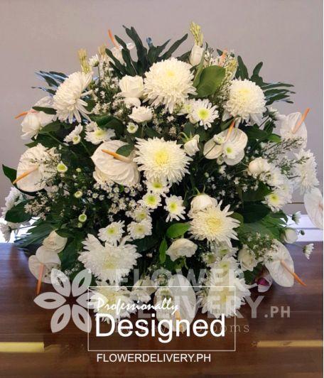 Elegant White Memorial Flowers