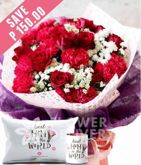 1 Dozen Red Roses and 1 Dozen Red Carnations with Mug and Pillow for Mom