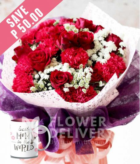 1 Dozen Red Roses and 1 Dozen Red Carnations with Mug for Mom