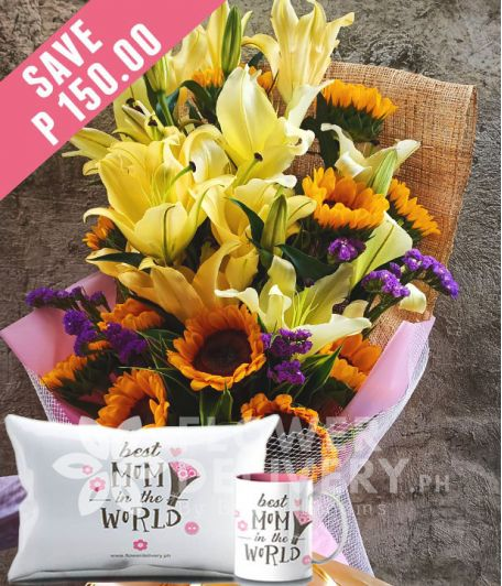 1 Dozen Sunflowers and 16 Yellow Lilies with Mug and Pillow for Mom