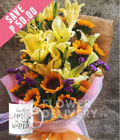1 Dozen Sunflowers and 16 Yellow Lilies with Mug for Mom