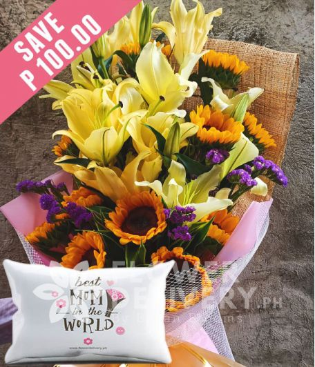 1 Dozen Sunflowers and 16 Yellow Lilies with Pillow for Mom