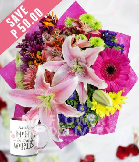 2 Stargazers with Mixed Colorful Flowers with Mug for Mom