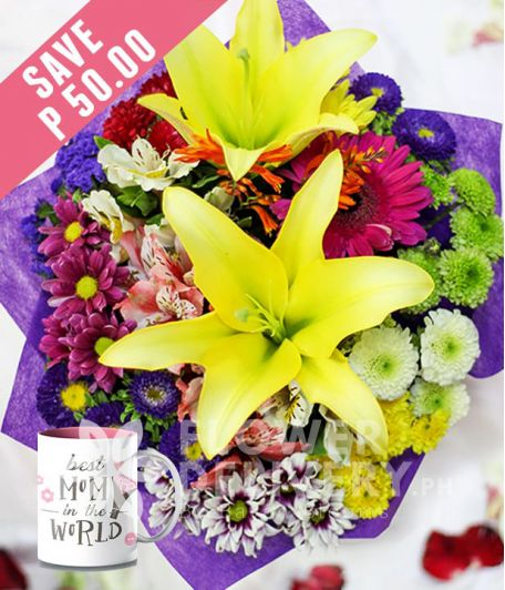 2 Yellow Lilies with Mixed Colorful Flowers with Mug for Mom