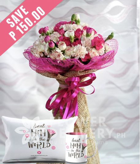 20 White and 20 Pink Carnations with Mug and Pillow for Mom