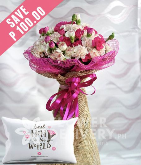 20 White and 20 Pink Carnations with Pillow for Mom