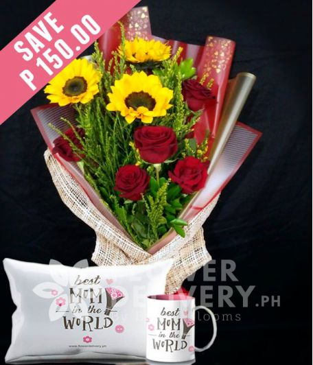 3 Sunflowers and 5 Red Ecuadorian Roses with Mug and Pillow for Mom