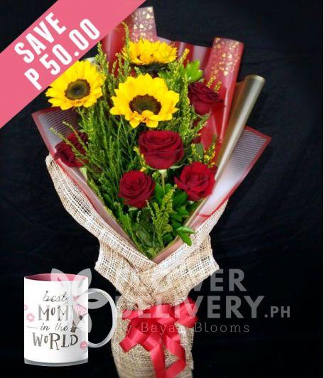 3 Sunflowers and 5 Red Ecuadorian Roses with Mug for Mom
