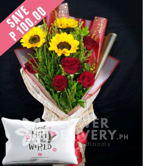 3 Sunflowers and 5 Red Ecuadorian Roses with Pillow for Mom