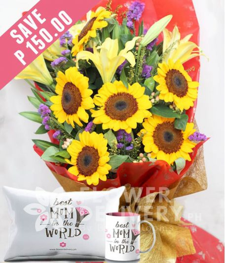 6 Pieces Sunflower with Lilies with Mug and Pillow for Mom