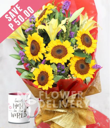 6 Pieces Sunflower with Lilies with Mug for Mom