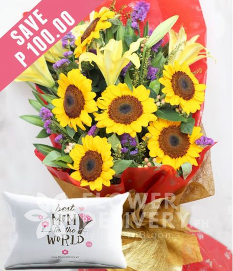 6 Pieces Sunflower with Lilies with Pillow for Mom