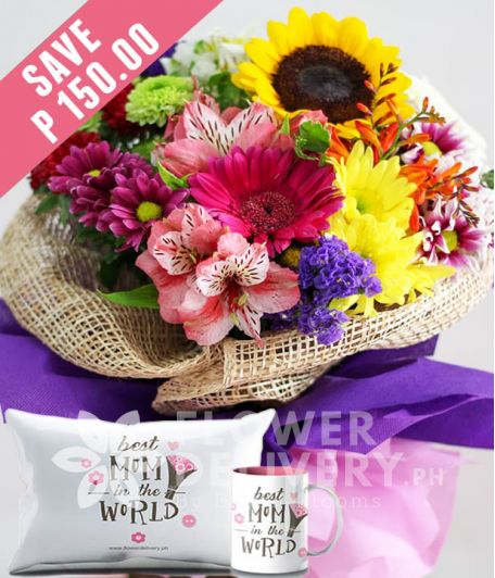A Bouquet Of Mixed Colorful Flowers with Mug and Pillow for Mom