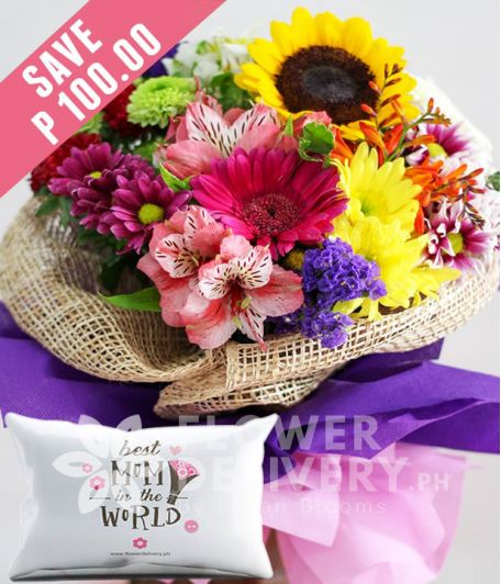 A Bouquet Of Mixed Colorful Flowers with Pillow for Mom