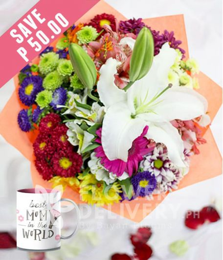 Casa Blanca with Mixed Colorful Flowers with Mug for Mom