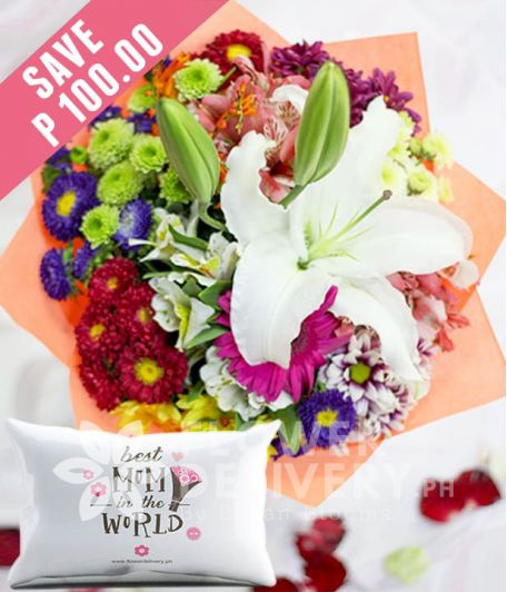 Casa Blanca with Mixed Colorful Flowers with Pillow for Mom