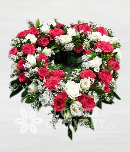 Pretty Red and White Roses Urn Flower Arrangement