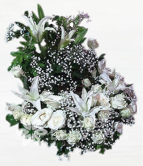 White Roses Urn Flower Arrangement