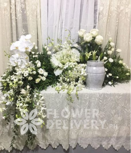 White Elegant Urn Flower Arrangement